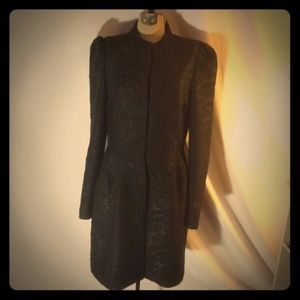 Zara Wool Blend Victorian Jacket Black Sz Small
